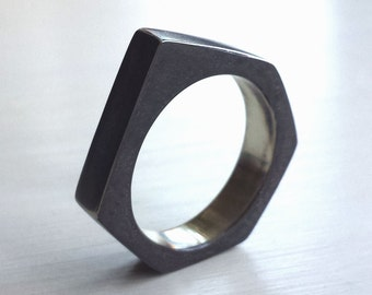 Industrial Nut Ring - Industrial Ring - Size 10 Ring - Mens Ring - Black Nut Ring - Rustic Ring - Nuts and Bolt Jewelry - Made In Brooklyn