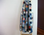 Vintage Patchwork Throw Size Quilt 1940s Vintage Hand Sewn Antique Collectible Quilts Colorful Handmade Quilted Lap Size Quilt in Denim Blue