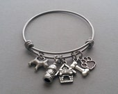 Dog Bangle Bracelet, Dog Charm Bracelet, Dog Lover Bracelet, Dog Rescue, Animal Rescue, Pet Lover Bracelet, Animal Lover Jewelry, Doghouse