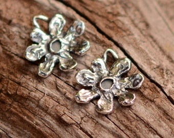 TWO Artisan Small Flower Charms in Sterling Silver, 7 Petal Flower, CH-477, S/2