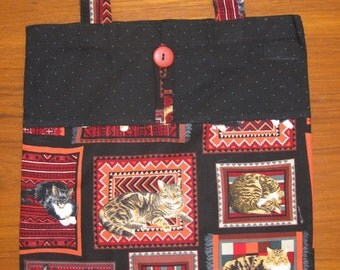 Cats and Navajo Rugs Tuck and Roll Fold-Up Portable Shopping Tote