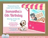 Pawty birthday invitation / INSTANT DOWNLOAD kitten and puppy dog / cute kitty cat birthday / pet shop #P-23- invite editable text PDF