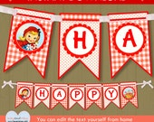 Red Riding Hood birthday banner / INSTANT DOWNLOAD party banner / Happy Birthday banner #P-45 - with editable text you can personalize PDF