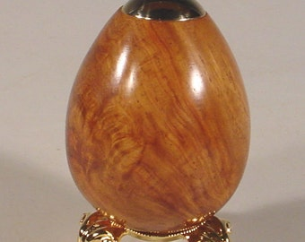 Exotic Afzelia Burl 24k Kaleidoscope Egg with pewter stand