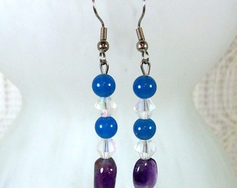 Beaded Earrings / Dangle Earrings  / Blue Earrings / Amethyst Drop Earrings / Amethyst Earrings / Handmade Earrings / Unique Earrings