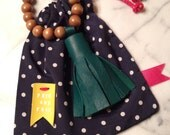 LEATHER TASSEL NECKLACE emerald green with dark brown beads