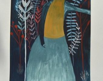 SALE Blue Ferns - Original Illustration on paper