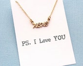 XOXO Necklace | Cursive Necklace | Hugs & Kisses Necklace | Valentines Gift | PS. I Love You | Valentines Day | Silver or Gold | L05