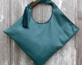 Soft Slouchy Asymmetrical Shoulder Tote Bag in Teal Leather by Stacy Leigh