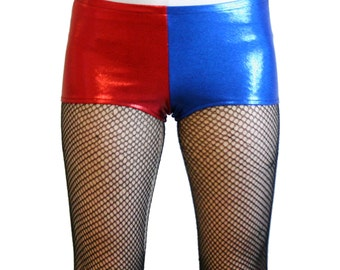 Red and Blue Shiny Harley Quinn Booty Shorts XS S M L XL 2XL suicide squad hot pants cosplay costume metallic mystique short spandex