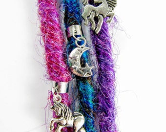 Unicorn Dreadlock Cuff Charm Set, Dread Bead, Dread cuff, Earcuff