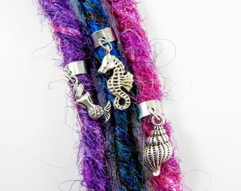 Mermaid Dreadlock Cuff Charm Set, Dread Bead, Dread cuff, Earcuff
