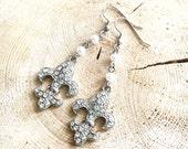 Rhinestone & Pearl Fleur de lis Earrings