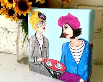 new..PARIS LADY PAINTING, hand painted, 6 in X 6 in, beret, veiled hat, cafe, Parisian blue, Paris, fuschia, home decor, artwork, light blue