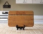 Personalized Cutting board, Custom Engraved Striped Bamboo, Kitchen Decor, Family Name, Housewarming Gift, Newlywed Gift --22032-CBBS-001