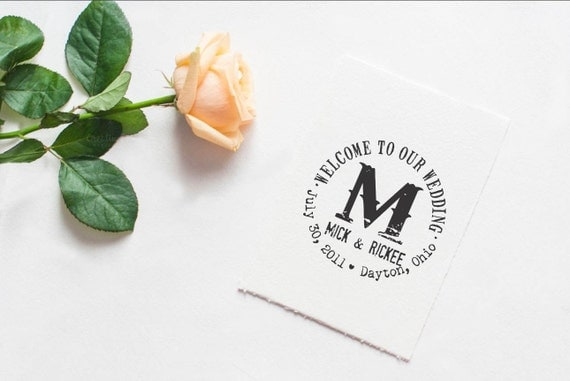 Welcome rubber stamp Custom greeting LARGE RUBBER STAMP for wedding welcome bags --5591