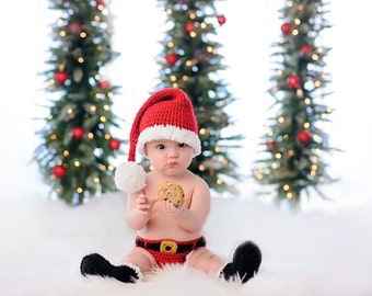 Santa Outfit - Crochet Santa Set - Santa Costume - newborn photo prop - babys first christmas outfit - newborn - infant - toddler