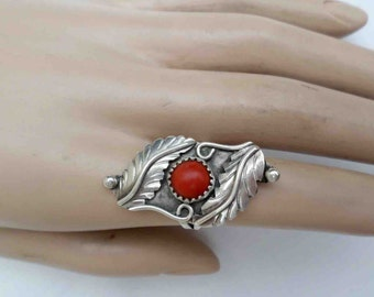VIntage Sixties Sterling Silver and Coral Double Leaf Layover Ring / Old Mexico SouthWest Tribal Folk Style / Size 6