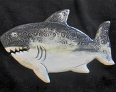 Ceramic Shark wall hanging for home or garden