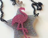 FLAMINGO STAR glitter laser cut necklace