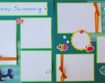12x12 Premade Scrapbook Pages Layout - JUST KEEP SWIMMING -  pool, beach, summer vacation, boy or girl, baby, family, swim, ocean creatures