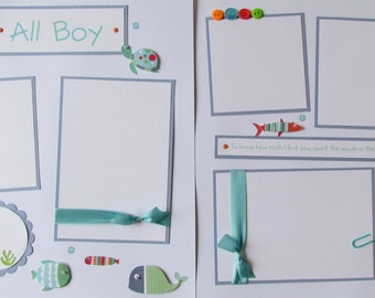 Premade 12x12 Scrapbook Pages -- ALL BOY -- Little Boy, Toddler, Baby Layout ~ SeA CReaTuReS, ocean, fish, turtle, newborn, first year, 1st