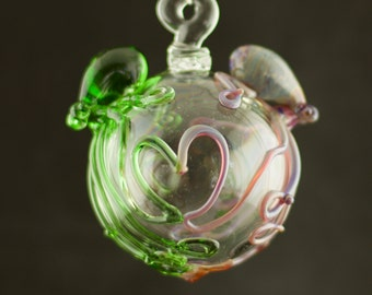 CLEARANCE / Octopus Ornament / Octopi my Heart / Large Ornament / Glass Globe / Emerald Green & Double Amber Purple / Ready to Ship #488