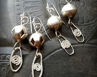Rustic, Sterling Silver, Boho, Gypsy, Organic, Tribal, Hoop, Beaded Earrings
