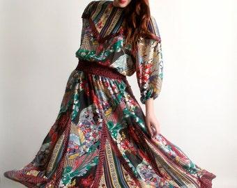 Vintage Diane Freis Dress - Psychedelic Wild Pattern Sheer Floral Sequin Dress - Large