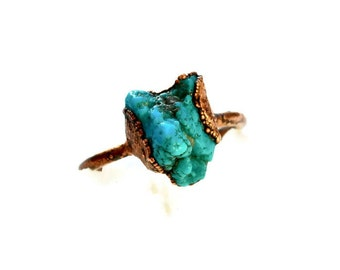 Raw Turquoise Birthstone Ring, Turquoise Stacker Copper Ring, December Birthstone Ring, Raw Stone Crystal Ring