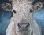 Reserved for Louise Soft Dunn Brown Cow Original oil painting