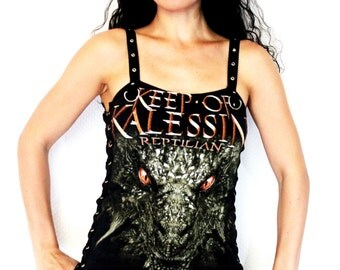Keep of Kalessin shirt heavy metal tank lace up top alternative clothing apparel reconstructed rocker clothes altered band tee t-shirt