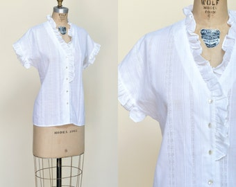 1970s Rhoda Lee Blouse --- Vintage White Large Shirt