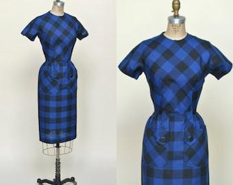 1950s Blue Plaid Dress --- Vintage Cotton Day Dress