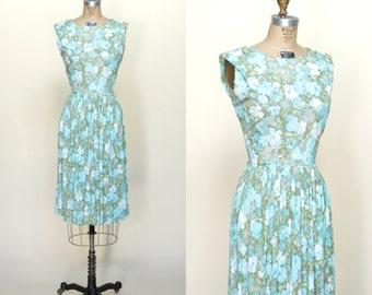 1960s Floral Day Dress --- Vintage Blue Green Dress