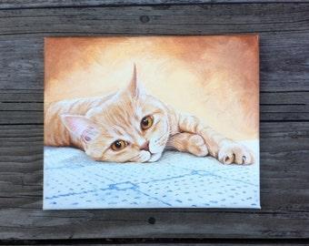 Custom Pet Portrait Painting 5 x 7 Cat