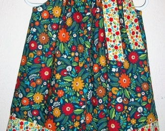 Pillowcase Dress Fall Dress Floral Dress Navy Dress with Flowers Autumn dress baby dress toddler dress girls dress Thanksgiving Dress