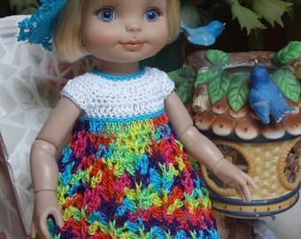 Crochet Set for Tonner Half Pint Doll 10 1/2  11 inch Hat Dress Rainbow Bright Aqua Turquoise
