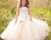 Sequin Lace Flower Girl Dress Ivory, Cream and Khaki Dress Couture Tulle Dress All Sizes Girls