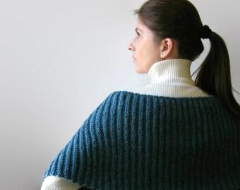 Denim Blue Wool Hand Knit Scarf, Merino Blend Wool Long Scarf, Wrap Shawl, Mens Scarf, Womens Scarves, Neck Warmer, Winter Scarf, Wool Scarf