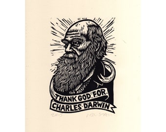 Charles Darwin Linocut Print Portrait, Thank God for Charles Darwin, Art Print Wall Art