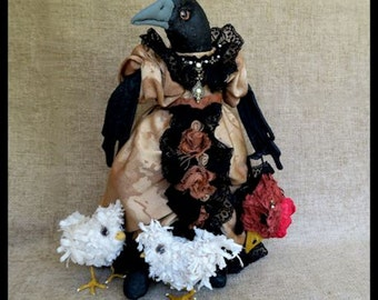 Cassandra Crow Art Doll OOAK ,Primitive, Fantasy Doll