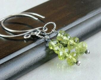 Peridot Earrings Oxidized Silver Green Earrings Gemstone Jewelry August Birthstone  Everyday Jewelry Spring Green Peridot Jewelry Column