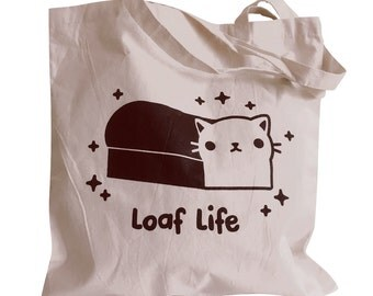 LOAF LIFE Tote Bag - Kawaii Cat Loaf Totebag Purse