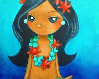 ORIGINAL Big Eye Art Acrylic Painting Mermaid Fantasy Jewelry Accessories Ocean Blue Chicasol Tamia