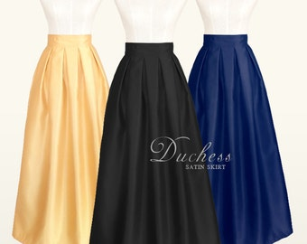 Duchess satin fully lined custom made pleated long maxi skirt with pockets in black, red, navy blue, light gold for your special occasion
