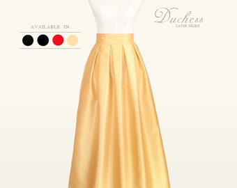 Duchess satin fully lined custom made pleated long maxi skirt with pockets in black, red, navy, light gold for your wedding, bridesmaids