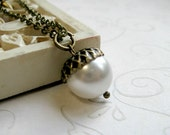 White acorn necklace, holiday, swarovski pearl, woodland, brass chain