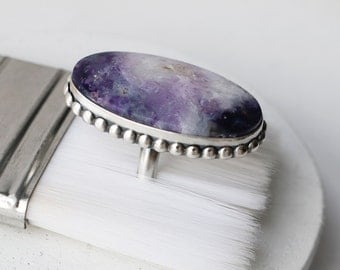 Purple Opal Oval Ring - Large Sterling and Purple Stone Statement Ring
