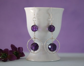 Amethyst Small Hoop Earrings Sterling Silver, Purple Earrings, Small Silver Hoops, Dangle Earrings
